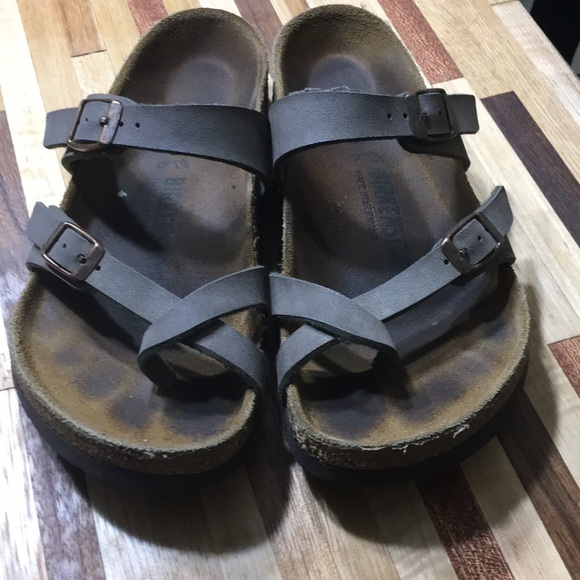 Taupe suede leather Birkenstock sandals size 38 Depop